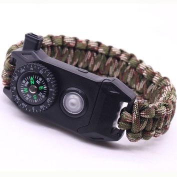 Outdoor Survival Bracelet SOS LED Light Night supervivencia Braided Paracord Camping Multifunctional Tool Compass Whistle Knife