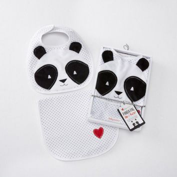 Panda Bib and Burp Set