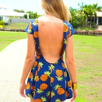 Navy Blue Playsuit with Pineapple Print & Scoop Back Detail