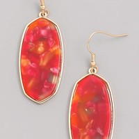 Stained Acrylic Dangle Earrings - Red