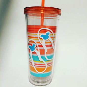 Summer Mickey Flip Flop 24 oz double wall tumbler