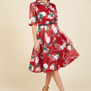 Respectfully Retro Midi Dress in Crimson Blossom | Mod Retro Vintage Dresses | ModCloth.com