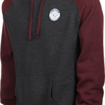 Airblaster Raglan Sleeve Terry Patch Hoodie - charcoal/burgundy - Free Shipping