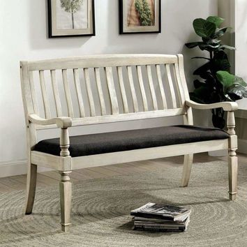 Vintage Rustic Style Wooden Loveseat Bench With Padded Seat, Off-White