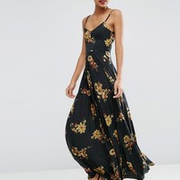 ASOS Cami Maxi Dress With Pleated Skirt In Dark Floral Print