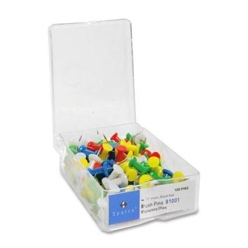 """Sparco Products Push Pins, 3/8"""""""" Point, 1/2"""""""" Heads, 100/BX, Assorted Case Pack 34"""