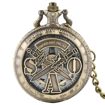 Cool Sword Art Online Necklace Watches Kid Children Men Quartz Pocket Watch Fashion Boys Pendant with Fob Short Chain 2018 Gift