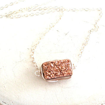 Druzy Bar Necklace Rose Gold Layering Necklace Minimalist Jewelry Gift for her Under 55 Drusy