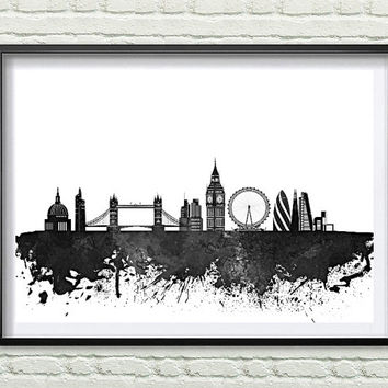 London, England black and white Skyline Print, Watercolor black and white Art, London Art, City Skyline, Wall Art Cityscape, Home Decor *10*