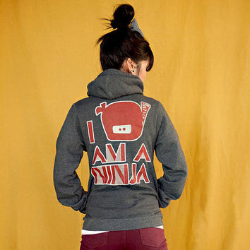 I Am A Ninja Zipper Hoodie Jacket - Dark Heather Grey / Creme / Dark Red - Unisex Sizes S, M, L