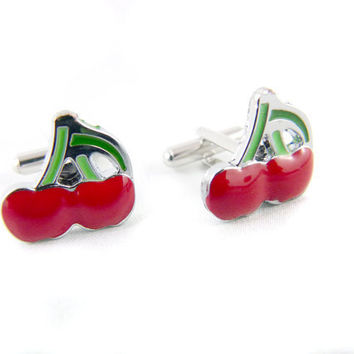 Lucky Twin Red Cherries Rockabilly Cuff Links by angelyques
