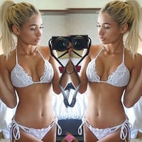 Sexy White Lace String Tie Swimsuit Bikini