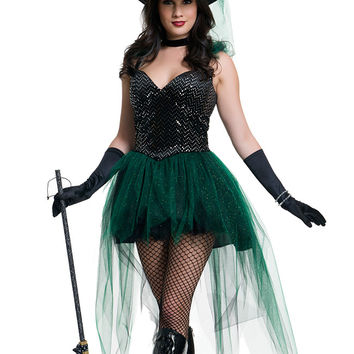 Black and Green Witch Costumes Halloween Cosplay