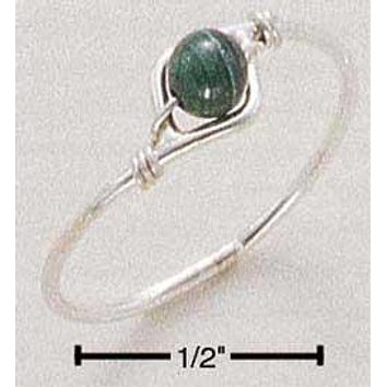 Sterling Silver Ring:  Wire Ring With Malachite Bead