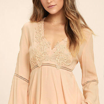 Free to Frolic Peach Lace Long Sleeve Top
