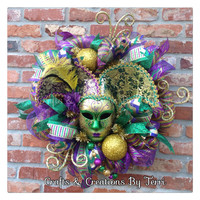 Mardi Gras Wreath - Jester Mask Wreath - Mardi Gras - New Orleans - Jester- Beads - Deco Mesh Wreath - Door Decor - Ready To Ship