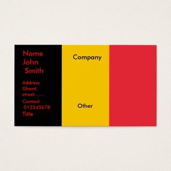Business Card with Flag of Belgium