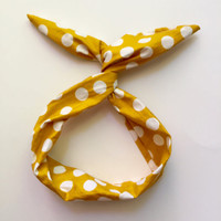 Byrd Band- Bendable Wire Headband- Yellow with White Polka Dots