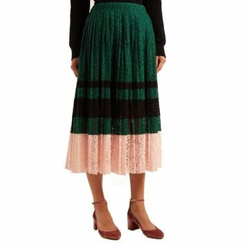 No. 21 Gloria Pleated Lace Midi Skirt