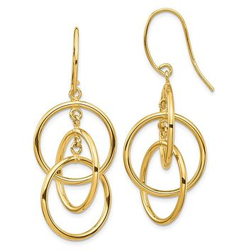 14k Yellow Gold Polished Circles Dangle Earrings