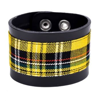 "Yellow Plaid Black Leather Quality Wristband Cuff Bracelet 2"" Wide"