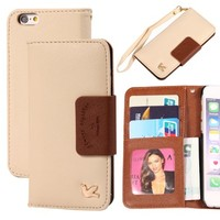 iPhone 6 Case,(4.7),[Upgraded-Opened Volume and Power Button Ports,no Break Issues]By HiLDA,Wallet Case,PU Leather Case,Credit Card Holder,Flip Cover Skin[Brown]
