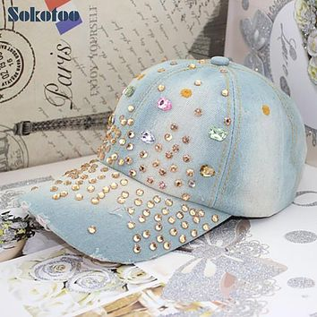 Sokotoo Summer women's fashion fancy color rhinestone baseball cap Casual female vintage hole denim hat Free shipping