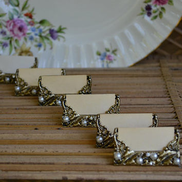 Gold Place Card Holders Pearl Rhinestone Place Card Holders Wedding Card Holders Hollywood Regency Decor