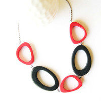 Resin Necklace - Statement Jewelry, Black, Red, Chunky, Mod, Funky, Freeform, Free Form, Long