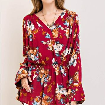 Floral Crinkled Wrap Top