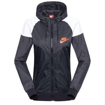CREYUP0 Women NIKE Zip Hooded Sweatshirt Jacket Cardigan Coat Windbreaker