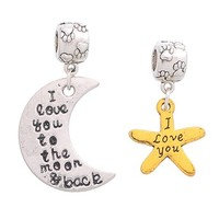 MJartoria I Love You To The Moon And Back Paw Starfish European Charms Dangle Beads Fit Charms Bracelet