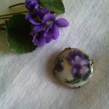 Violet Brooch Antique Edwardian Hand Painted Porcelain Violet Pin Purple and Green Flower Brooch Botanical Jewelry Mother or Grandmom Gift