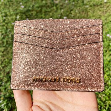 Michael Kors Giftables Large Card Holder Rose Gold Glitter