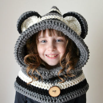 Raccoon Hat - Raccoon Hoodie - Raccoon Cowl - Animal Hat - Hooded Scarf - Crochet Hoodie - Chunky Crochet Hat