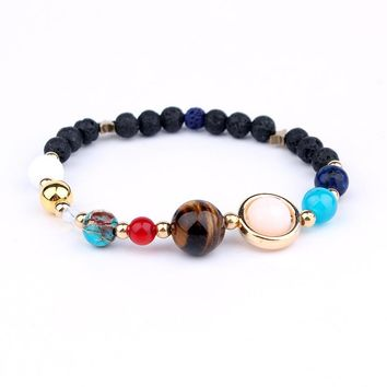 Universe Galaxy the Eight Planets in the Solar System Guardian Star Women Men Natural Stone Beads Bracelets Bangles