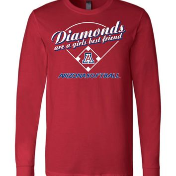 Official NCAA Venley University of Arizona Wildcats U of A Wilber Wildcat BEAR DOWN! Softball Diamonds are a Girls Best Friend Long Sleeve T-Shirt - uofa2489