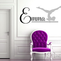 Gymnast Wall art Decal Custom Name Vinyl sticker home decor gymnastic kwds leotard grips girls bedroom ring silhouette dance child gift idea