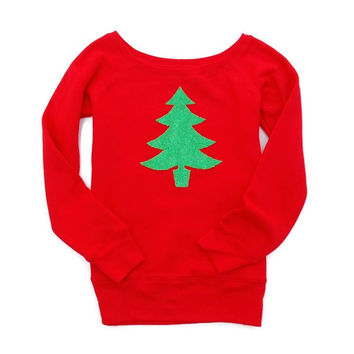 Holiday Christmas Tree Patch Sweatshirt - Not Your Ugly Christmas Sweater
