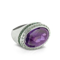Azhar Designer Rings Cubic Zirconia Sterling Silver Oval Cocktail Ring