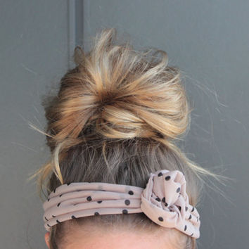 Taupe Neutral Polka Dot Twist Head Scarf Dolly Bow Wire Headband Bun Wrap