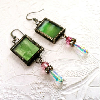 Stained Glass Earrings, Green Glass Dangle Earrings, Vintage Beaded Earrings, Soldered Glass Earrings, Pink and Green Earrings