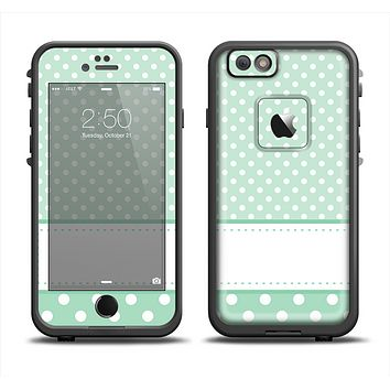 The Vintage Light Green Polka Dot With White Strip copy Skin Set for the Apple iPhone 6 LifeProof Fre Case