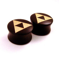 "Gold Tri Force Ebony Wooden Plugs - 5/8"" (16 mm) 11/16"" (17.5mm) 3/4"" (19mm) (20.5mm) 7/8"" (22mm) 1"" (25.5mm) 1 1/8"" (28mm) Wood Ear Gauges"
