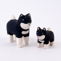 T-Lab Handcarved Wood Pair Shiba Dogs