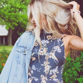 Kimchi Blue Rebecca Floral Mock Neck Romper - Urban Outfitters