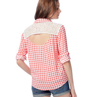 Long Sleeve Crochet Yoke Plaid Woven Shirt