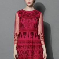 Treasure Embroidered Mesh Dress in Ruby