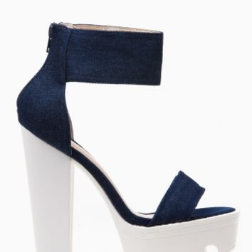 Denim Ankle Strap Lug Sole Platform Heels @ Cicihot Heel Shoes online store sales:Stiletto Heel Shoes,High Heel Pumps,Womens High Heel Shoes,Prom Shoes,Summer Shoes,Spring Shoes,Spool Heel,Womens Dress Shoes