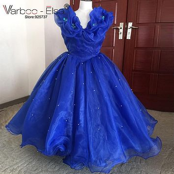 VARBOO_ELSA Royal Blue Cinderella Dress Little Girl Wedding Party Gown 2017 Lovely Mother Daughter Organza Girl Pageant Dress